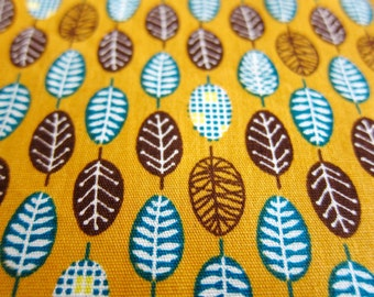 Floral Fabric - Small Leaves on Golden Orange - Fat Quarter