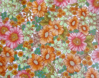 Floral Print Fabric - A Floral Painting in Pink and Orange - Half Yard