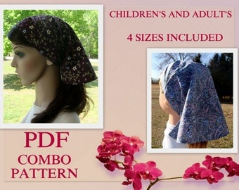ADULT + CHILDRENS Women Headcovering Tutorial Sewing Pattern Headcovering Tutorial Bandana Pattern PDF E Book 4 Sizes Prayer Veil Covering