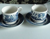 Churchill Blue Willow Tea  Cups and  Saucers Made in England Set of Two