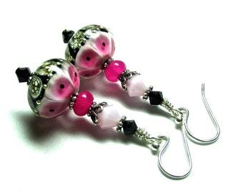 Pink Earrings  Made To Order Lampwork Earrings  Glass Earrings, Artisan Earrings Pink Black Earrings Elegant Earrings Made to Order