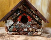 Mosaic Birdhouse   Outdoor Birdhouse with A Equstrian Theme Colorful Stones  Beautiful Agates
