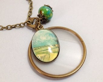 The Cranford Monocle Necklace - Van Gogh's Wheatfield and Lampwork Glass on Brass (CN-56)