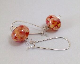 Pink Lampwork Glass Earrings on White Brass Kidney Ear Wires (E-495)