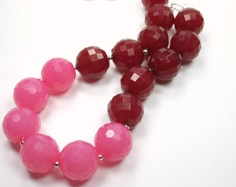 Berry Bazaar Collection - Deep Red Pink Large Beaded Necklace- Bold Bib Statement Necklace - Chunky Necklace