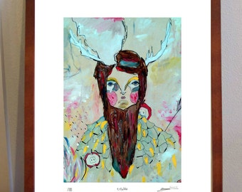 Estelle- Mistress of stars and celestial divination - A4 digital print on eco linen stock of forest maiden with antlers