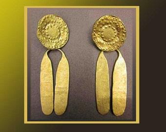 The ANCIENT World,Roman Style Gilded Kinetic Dangle Earrings,Alva Museum Replicas,Vintage Jewelry,Women