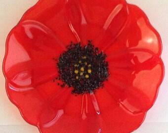 Fused Glass Bowl Orange Poppy