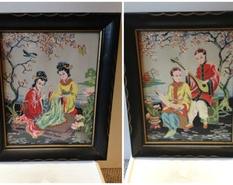 30s / 40s H Calpini framed screen printed prints of Japanese musicians set of 2