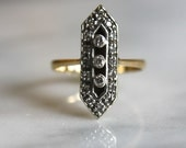 VICTORIAN 1890s DIAMOND antique vintage bar geometric trinity trilogy engagement ring 14K gold .25ctw size 6