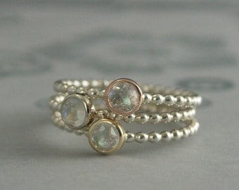 Rainbow Moonstone Stacking Rings--Moondrops--Gold Bezel Set Rose Cut Moonstones on Silver Beaded Bands--Set of ALL THREE--Stone Stacking Set