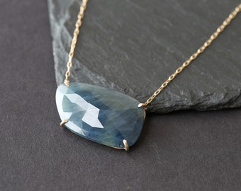 Custom Natural Rose Cut Blue Sapphire Necklace