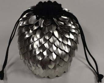 Dice Bag of Holding Knitted Dragonhide Scale Armor  Silver Rogue Warrior
