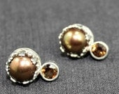 Champagne Topaz Bronze Pearl Earrings