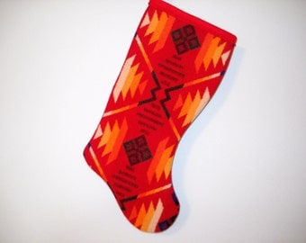 Christmas Stocking Wool Red Coyote Butte Southwestern Tribal Geometric Handcrafted Using Fabric from Pendleton Woolen Mill
