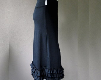 Long black skirt, organic cotton skirt, maxi skirt,  handmade organic clothes, more colors