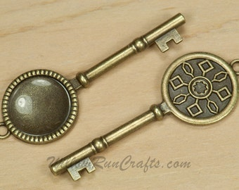5 Key Pendant Settings  20mm Circle Antique Bronze with Glass Cabochons 20mm (19-30-100) Blank Cabochon Setting