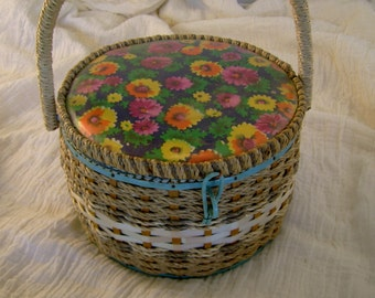 Vintage 1950s Wicker Rattan Sewing Box Basket with Floral Lid, Made in Japan, with Pins, Pincushion, etc.