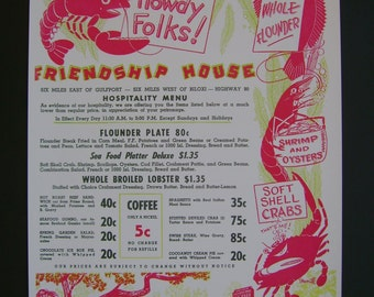 Vintage Advertising Menu Reproduction 1950s Friendship House, Biloxi, Mississippi Gulf Coast