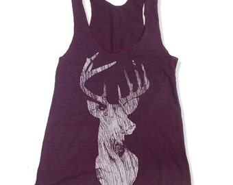 Women's DEER -hand screen printed Tri-Blend Racerback Tank Top xs s m l xl xxl  (+Colors)