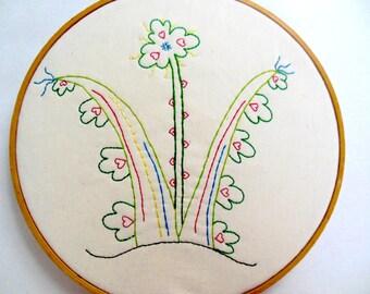 "PDF Stitchery Pattern ""Cloverbunda"" Flower Embroidery"
