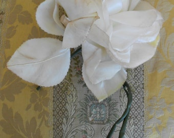 1940's Large White Silk Rose
