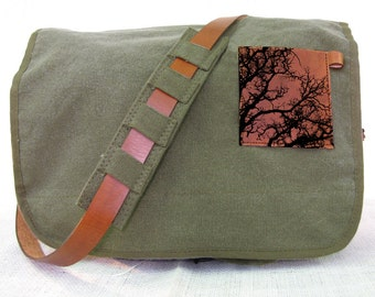 canvas messenger bag with leather accents tree bag - olive green