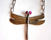 Sterling Dragonfly with Ruby Eyes