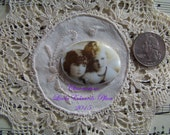 Cameo 1 40x30 Vintage Photo 2 Darling Girls Hand applied porcelain fired decal ECS