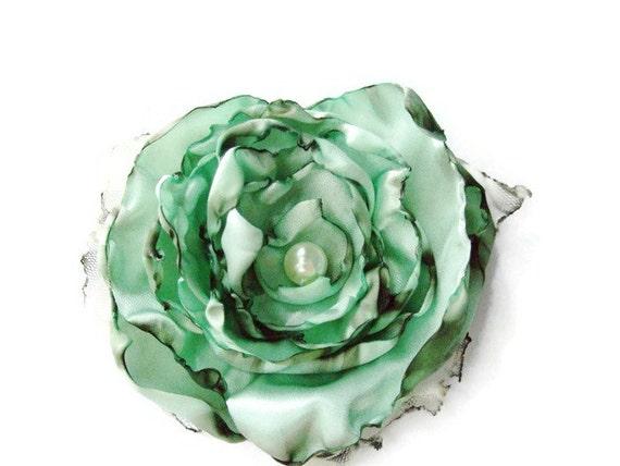 Seafoam Green, Aqua blue green mint flower accessory, Wedding Hair Flower, Bridal Sash, Maternity Sash