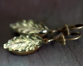 "Vintage Mirror Leaf  Bling Brass Earrings - ""Juliet"""