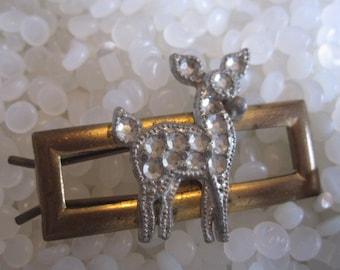 vintage barrette brass with silver deer