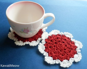 Crochet Doily Coaster Set - White x Red -