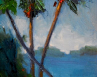 """Palm Tree Painting, Tropical Landscape Painting, Daily Painting, Small Oil Painting, """"Palms in Breeze"""" 8x6"""" Original"""