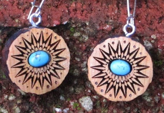 Starburst and Turquoise Wood Earrings-  In Juniper Wood with Turquoise  (044)- Wooden Jewelry, Boho Jewelry