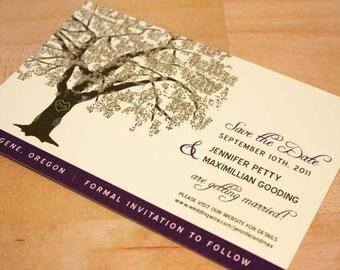SAMPLE Oak Tree Save the Date Wedding Card, Grandfather Oak Tree, Rustic, Modern Invitation, RSVP, Save the Date, Brown, Green