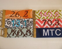 Monogrammed Key Wristlet Custom Embroidered ~COLOR CHOICES~ Club Event Group Initials Monogram  Keychain Fob Holder Ring Chain Loop