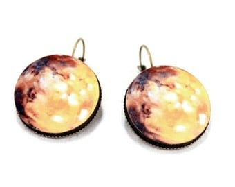 Mars Solar System Earrings Space, Science, Planet Jewelry - Large