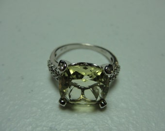 vintage sterling silver and yellow quartz.ring size7