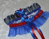 Handmade wedding garters keepsake and toss SPIDERMAN Super Hero wedding garter set