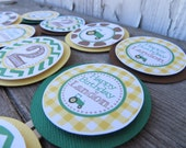 Tractor Birthday Party, Green Tractor Cupcake Toppers, Birthday Party Decorations, Choose The Colors & Sayings