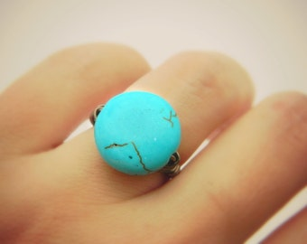 Turquoise Ring. Size 5.25 - Blue, Aqua, Ocean, Sea, Brown, Bronce, Dark, Fall, Jewelry Rings, Turquoise Jewelry, Turquoise Stone, Turquoise