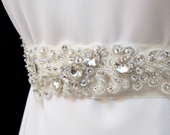 Rhinestone Applique, Beaded Bridal Wedding Belt, Rhinestone Sash, Ivory Bridal Belt Sash, Wedding Crystal Sash, Wedding Pearl Sash Belt