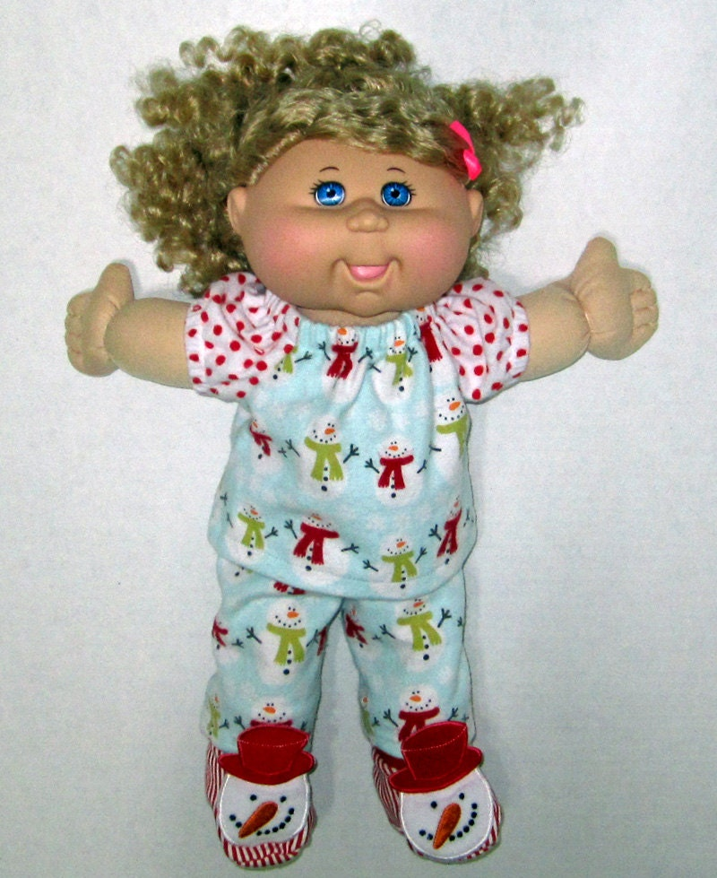 cabbage patch doll clothes snowmen pajamas 14 doll