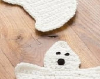 crochet ghost coasters- free shipping