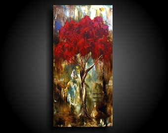 Red Tree Abstract Painting Modern Painting Encaustic Art Contemporary Painting Modern Abstract by The Raw Canvas Wall Art Asian Painting