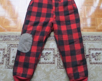 Vintage Plaid Hunting Pants Wool