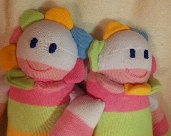 CIJ SALE -Handmade Flower Petal Doll Pastel Rainbow Plush Stuffed Animal Personalized OOAK Striped Flower Doll Toys Kids