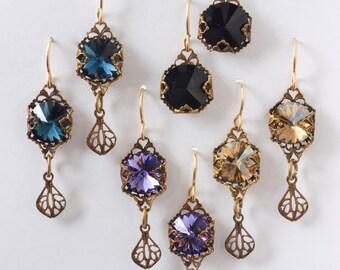 Vintage  Victorian Look Swarovsky and Brass Dangle Earrings