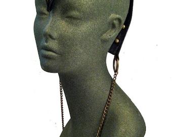 mohawk, leather, head piece ,burning man, edgy, statement piece, fetish, High end Headwear : Renegade Icon Designs; Rara Avis Collection